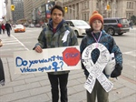Students spread across city to raise awareness about violence against women