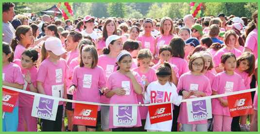 A group of girls participating in Girls on the Run