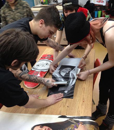 Students doing artwork together