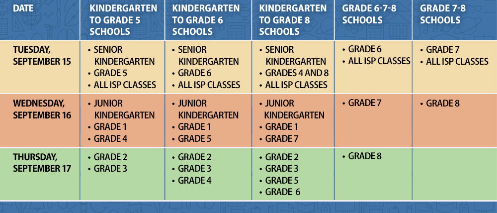 First days of school schedule