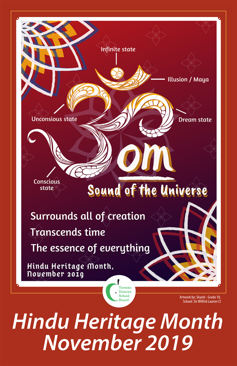 The TDSB Hindu Heritage Month poster celebrating Om, the sound of the universe.