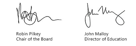 Chair and Director Signatures