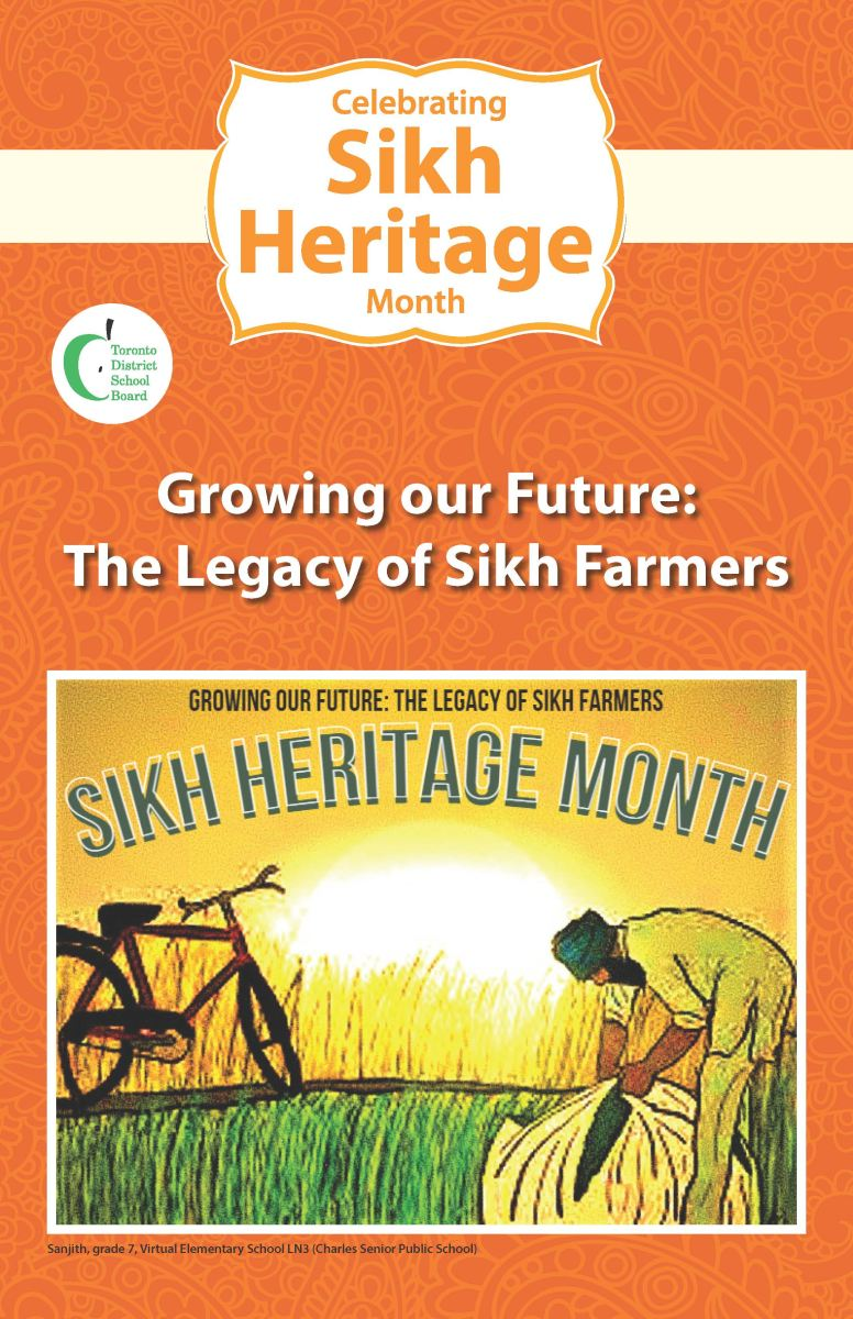 A poster designed for Sikh Heritage Month drawn by a Grade 7 student