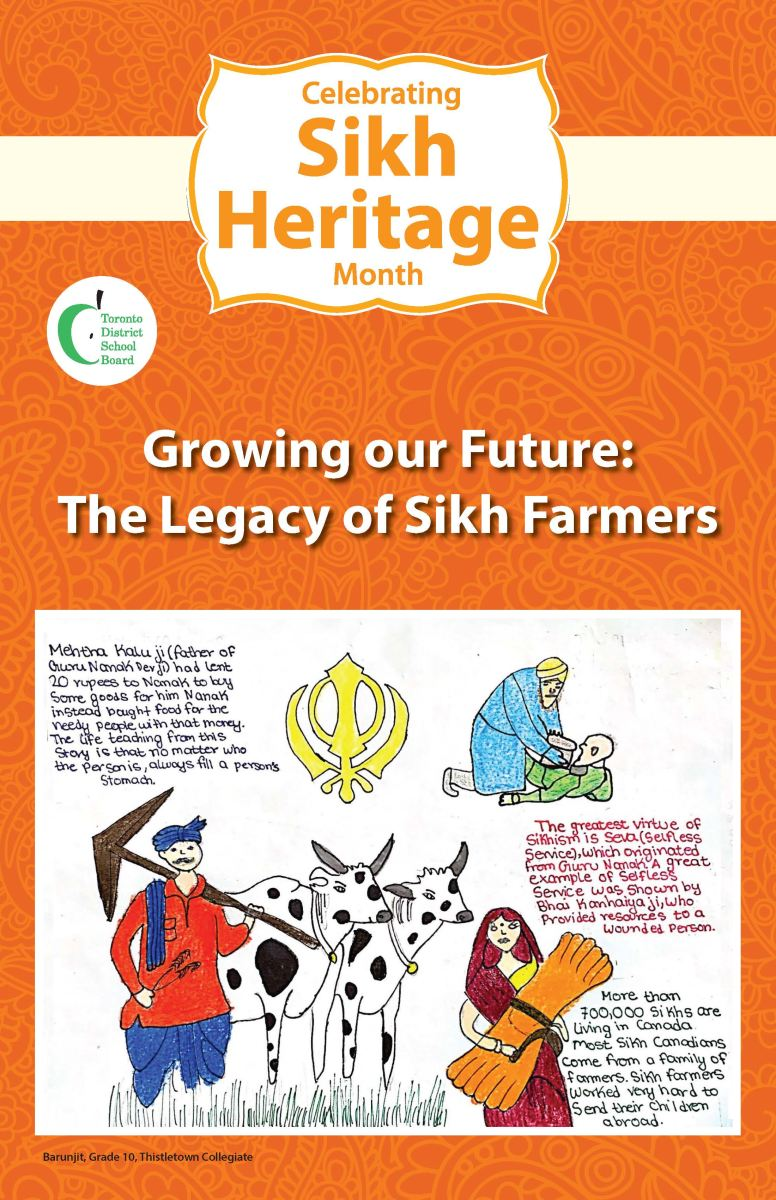 A poster designed for Sikh Heritage Month drawn by a Grade 10 student
