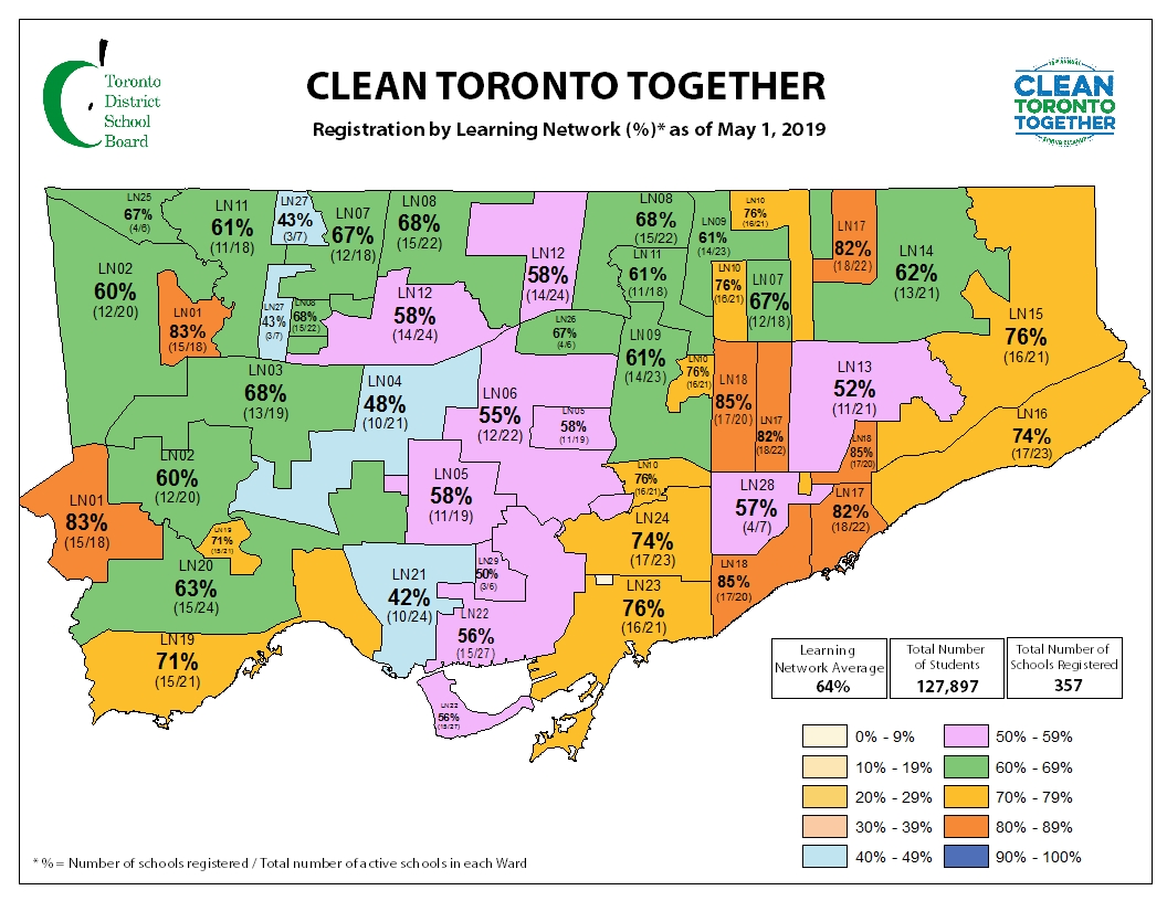 Learning centre map with registration statistics for Clean Toronto Together event