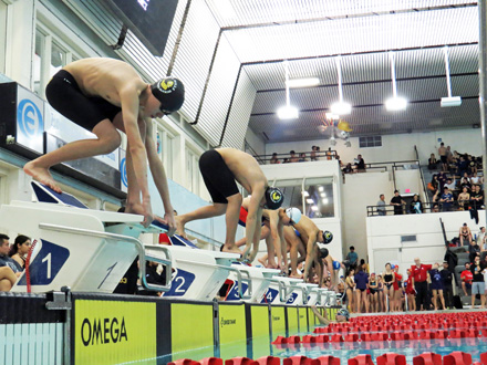 A set of athletes are on the line and ready to swim