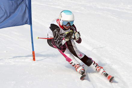 A skiier passes her first gate in the Giant Slalom event at the TDSSAA City Championships.