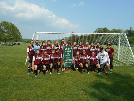 Humberside Girls' Soccer team poses for the AAA City Championship photo.
