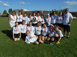 Lakeshore CI girls soccer team poses for the west region championship photo of Tier 2.