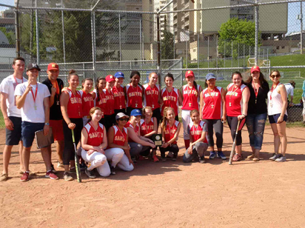 Richview Girls' Slo Pitch Team pose for a photo after winning the West Regional Championship title.