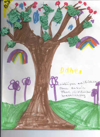 Drawing of tree by a kindergarden student