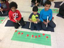 Students playing the recorder