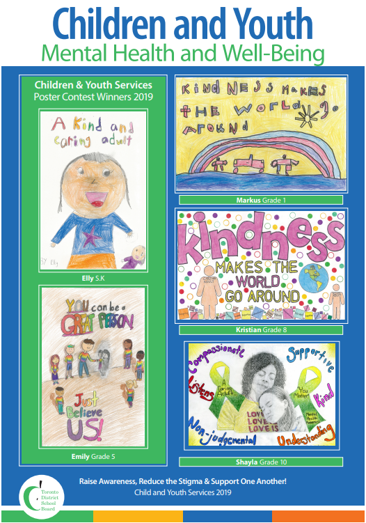 A collection of five posters designed by students for Children and Youth Mental Health Week.