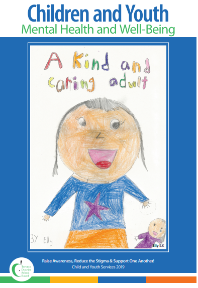Poster designed by an SK student. Text says A Kind and Caring Adult, and pictures a smiling adult wearing  blue shirt with a star on it.