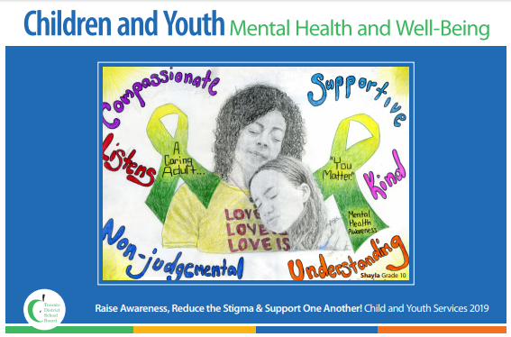 Poster designed by a Grade 10 student and features two people hugging surrounded by the words compassionate, supportive, listening, kind, non-judgemental and understanding.