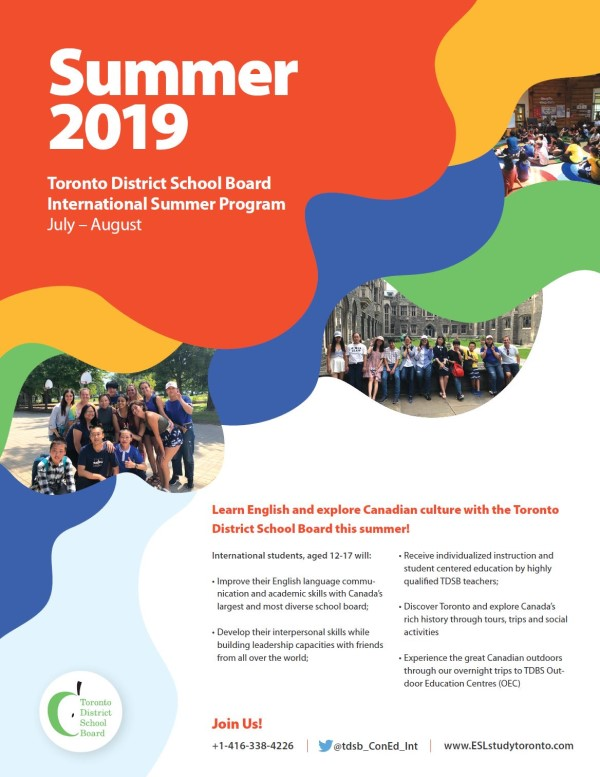 TDSB Summer ESL Pamphlet 2019