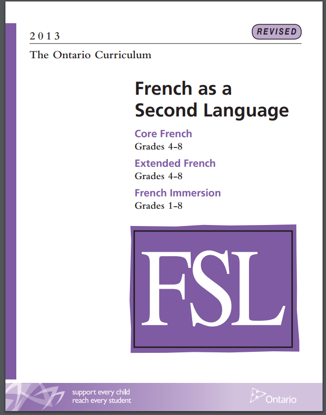 Cover of Elementary French as a Second Language Curriculum