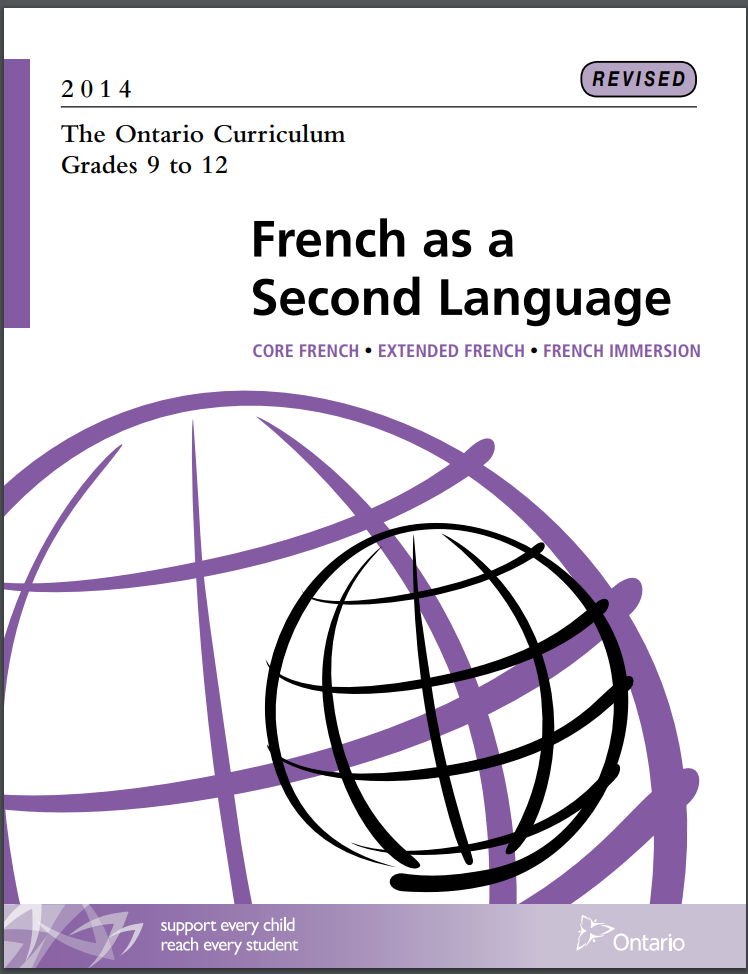 Cover of Secondary French as a Second Language Curriculum
