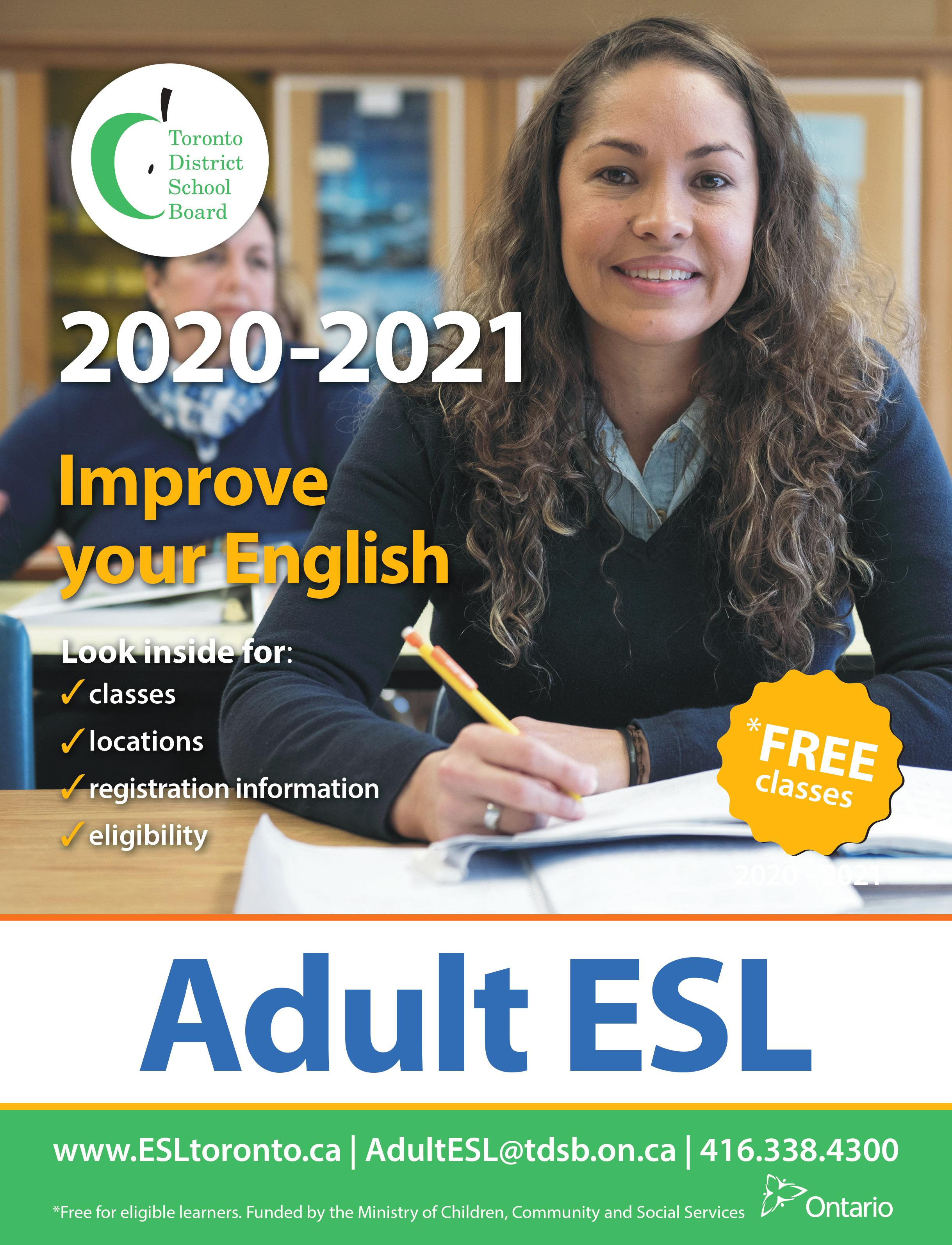2020-2021 Brochure for Adult ESL Programs