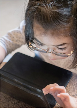 Student using a touchscreen device