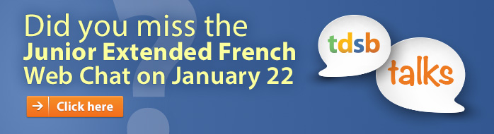 Web Chat for Junior Extended French Jan 22 7 to 8 p.m.