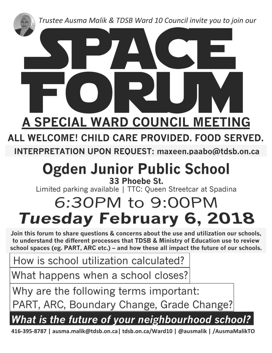 Space Forum: Special TDSB Ward Council Meeting, Tuesday February 6th 2018