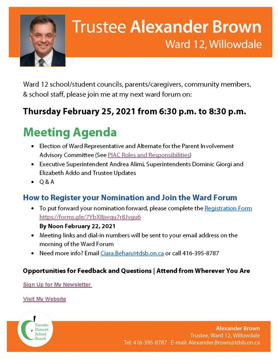 Trustee Brown's Ward 12 Virtual Ward Forum on Thursday, February 25, 2021 from 6:30 pm to 8:00 pm
