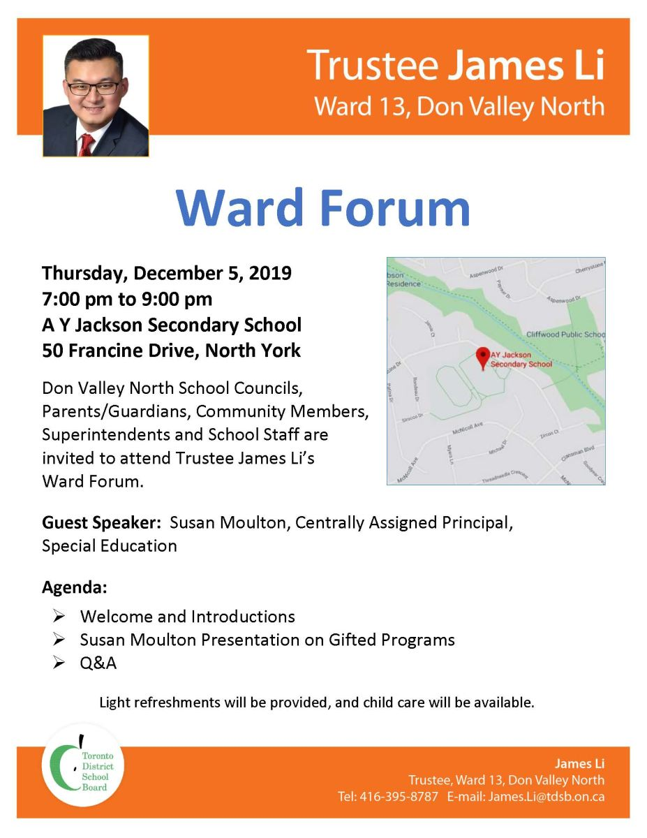 Ward 13 Forum on Thursday, December 5,  2019 at A Y Jackson SS, 7-9 pm