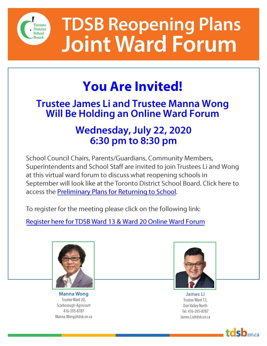 Joint Ward 13 & Ward 20 Online Forum on July 22, 2020 from 6:30 pm to 8:30 pm