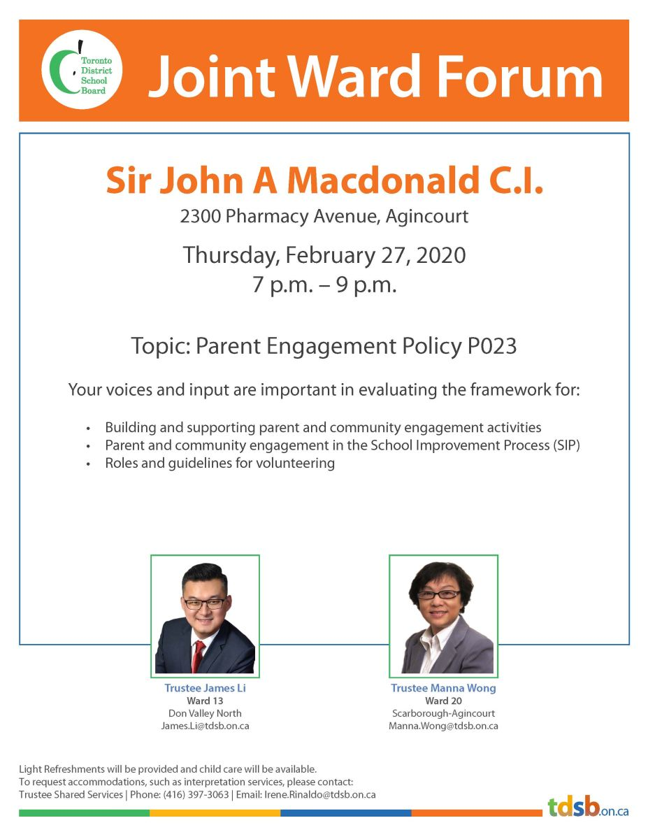 Joint Ward Forum on February 27, 2020 at Sir John A Macdonald CI , 7-9 pm