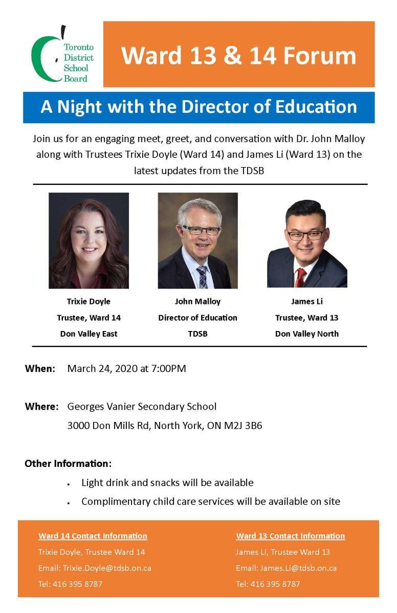 Ward 13 & 14 Joint Ward Forum on March 24, 2020 7:00 pm at Georges Vanier SS