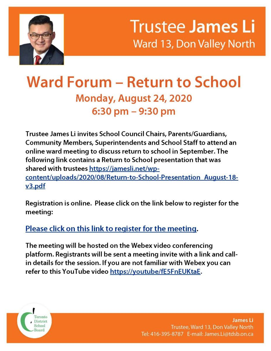 Return to School Ward Forum on Monday, August 24, 2020 from 6:30 - 9:30 pm