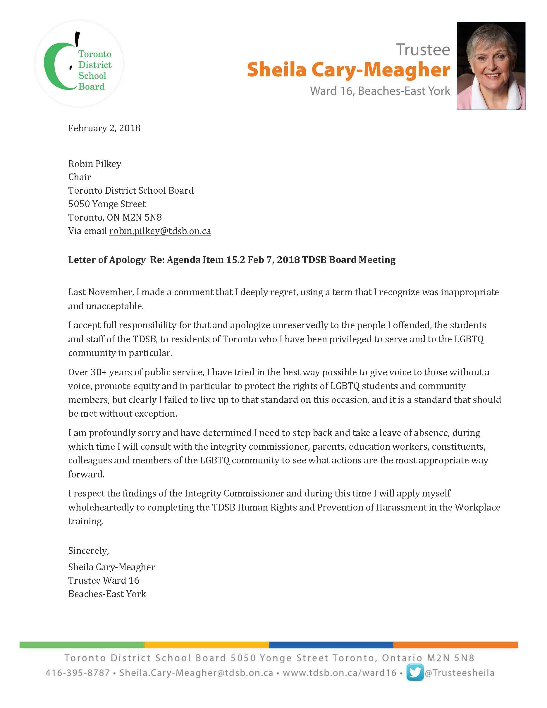 Letter of Apology Re: Agenda Item 15.2