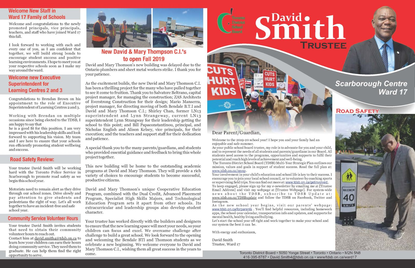 Image of page 1 of Trustee David Smith's Fall 2019 Newsletter