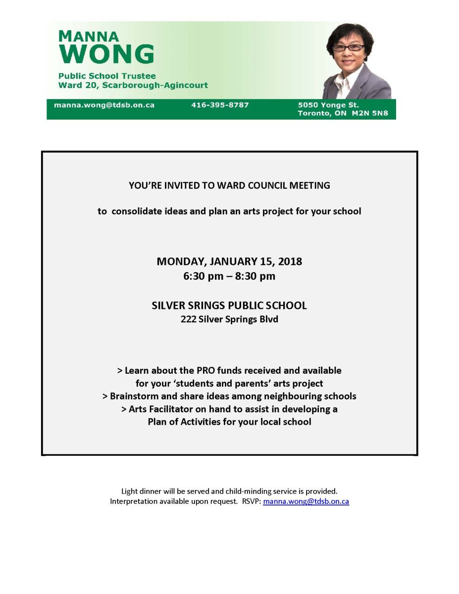 Ward 20 Council Meeting on January 15, 2018