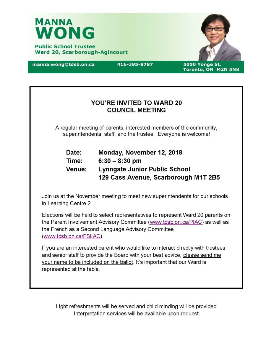 Ward 20 Council Meeting at Lynngate Junior Public School on November 12, 2018, 6:30 - 8:30 pm