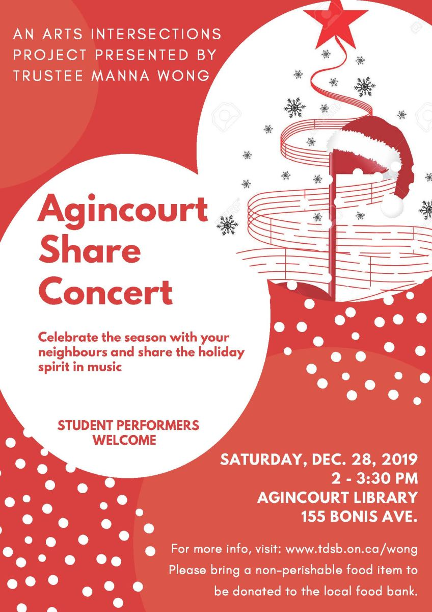 Arts Intersections Project  at Agincourt Library, 155 Bonis Avenue on Saturday, December 28, 2019 from 2:00-2:30 pm