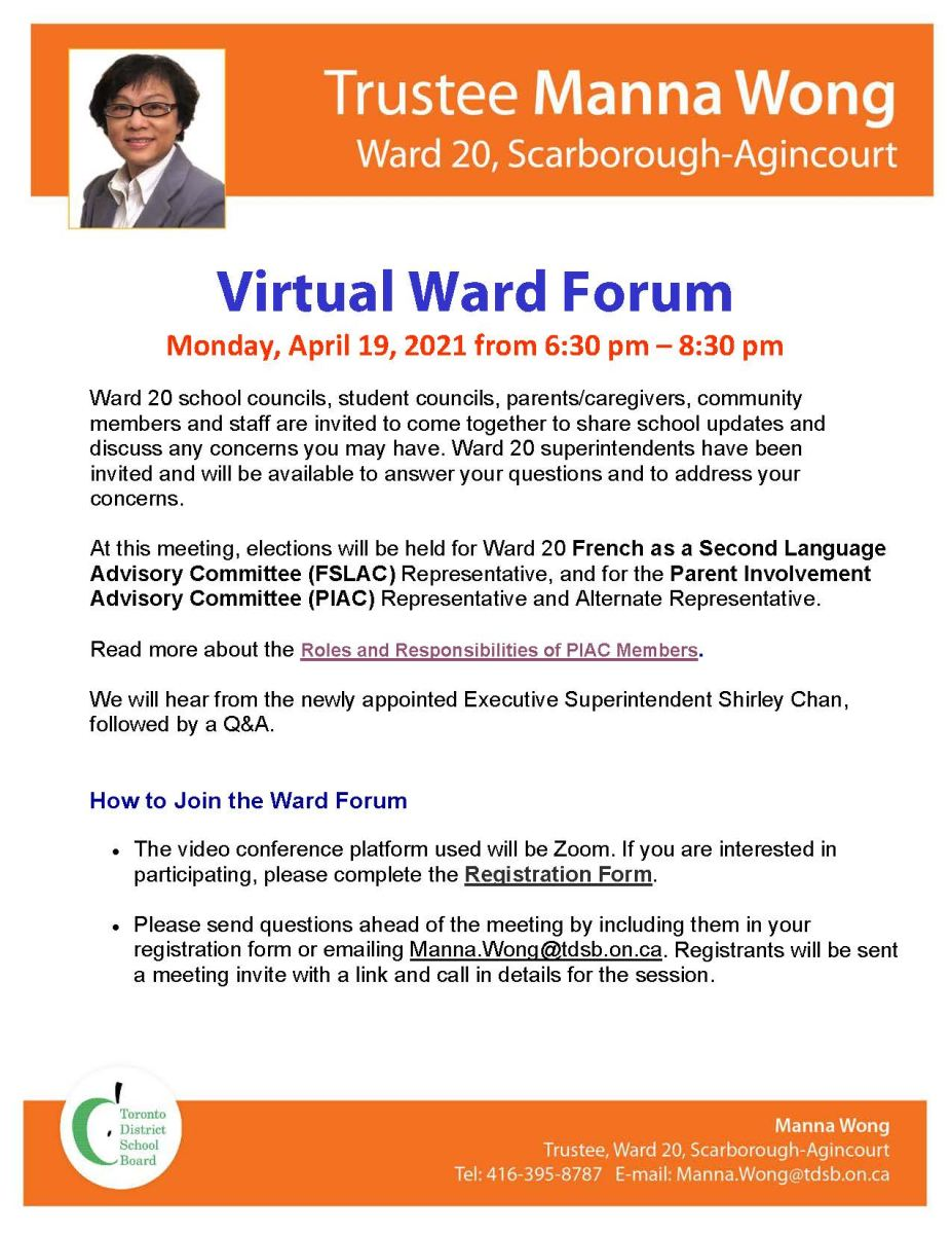 Ward 20 Virtual Ward Forum on Monday, April 19, 2021 from 6:30 pm to 8:30 pm