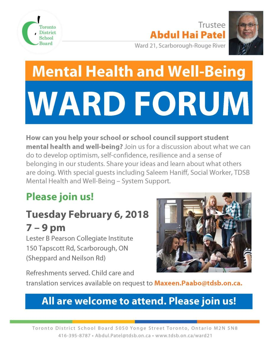 Flyer for the Ward 21 Forum on Tuesday February 6, 2018, 7 – 9 pm - Trustee Abdul Hai Patel