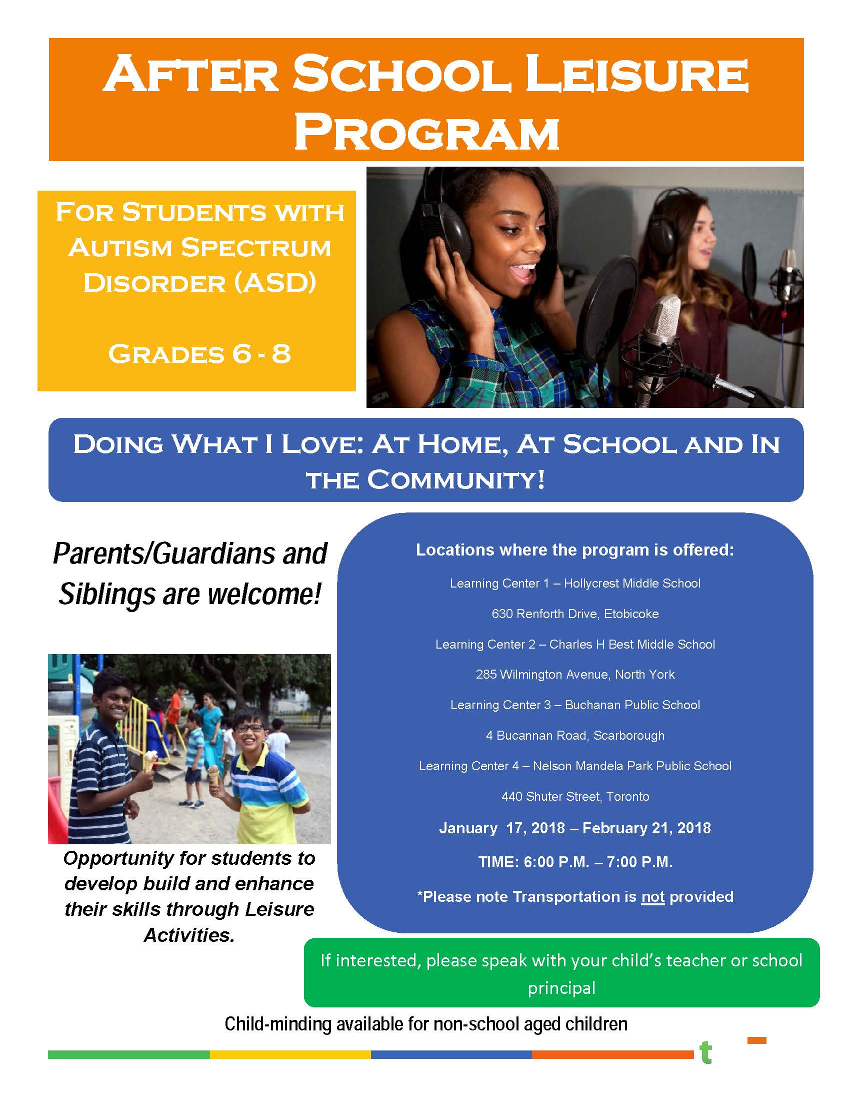 After School Leisure Program for ASD students