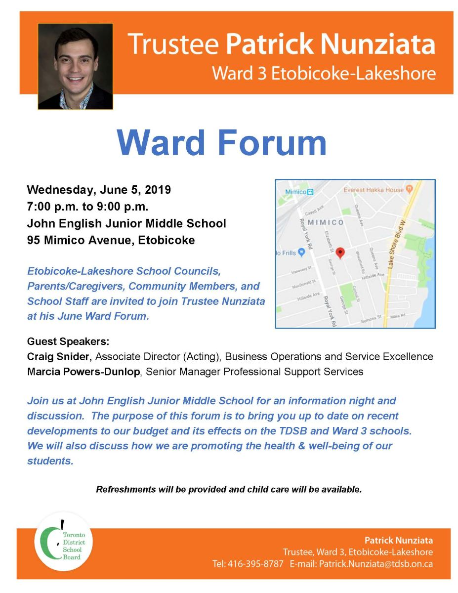 Ward 3 Forum on June 5 at John English Jr MS, 7-9 pm