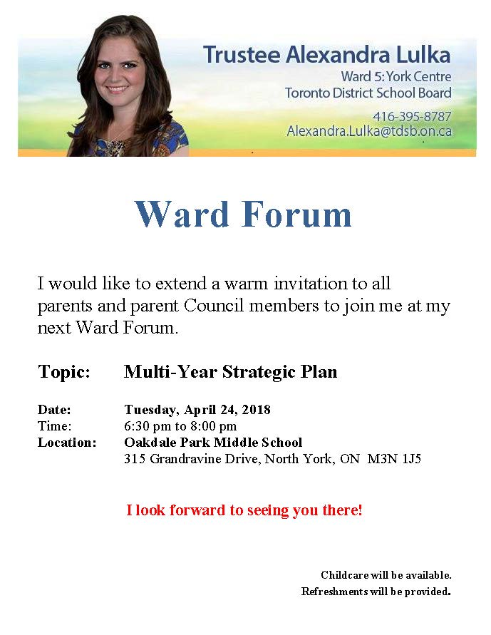 Ward 5 Forum - Tuesday, April 24. 2018 at Oakdale Park Middle School