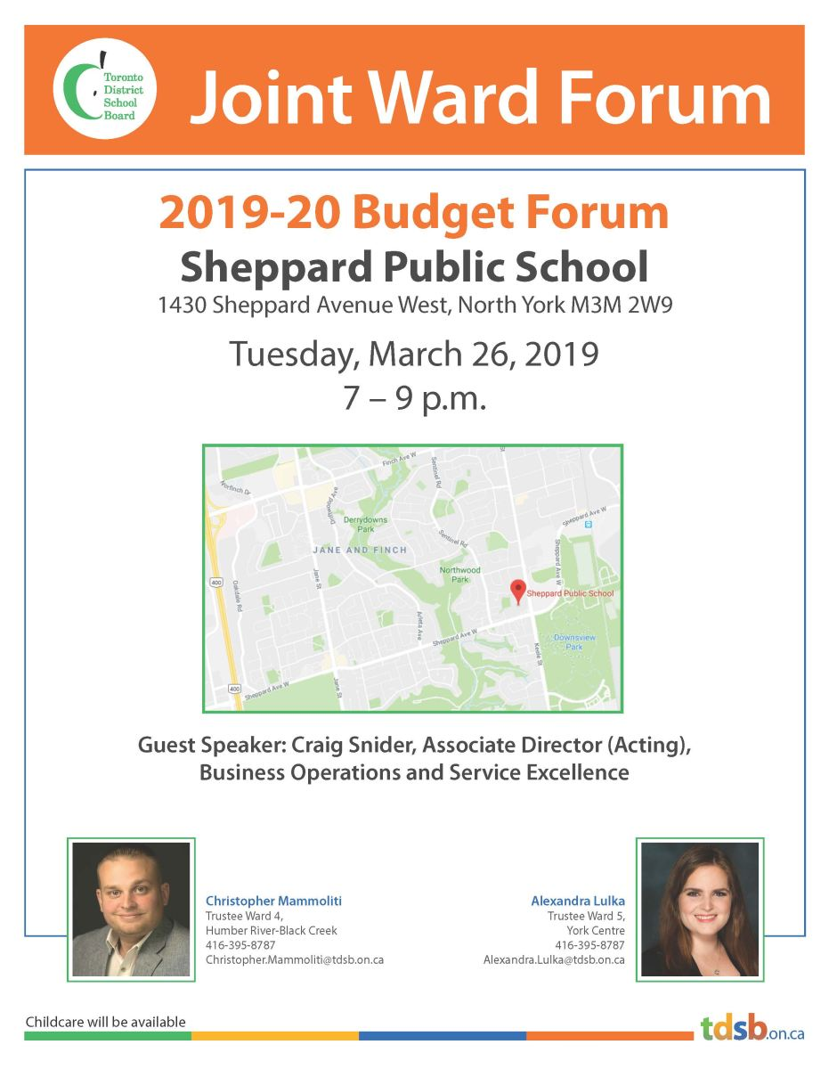 Joint Budget Forum on March 26, 2019 at Sheppard Public School, 1430 Sheppard Ave W, 7-9 p.m.