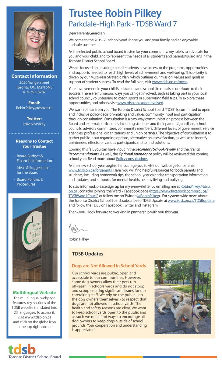 Trustee Pilkey's Back to School Newsletter 2019/20 Page 1